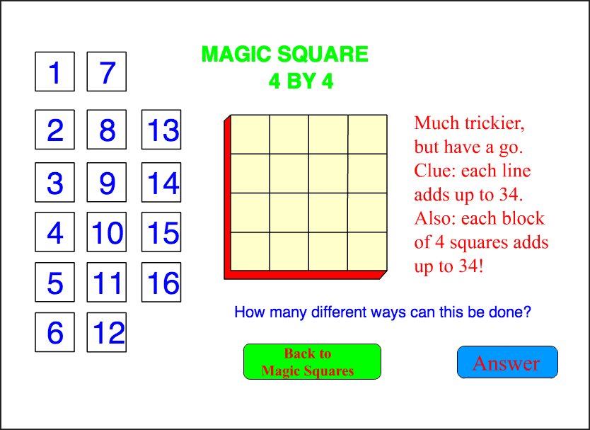 4 by 4 Square