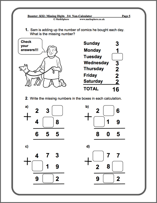 Level 3-4 Missing Digits Maths Worksheet
