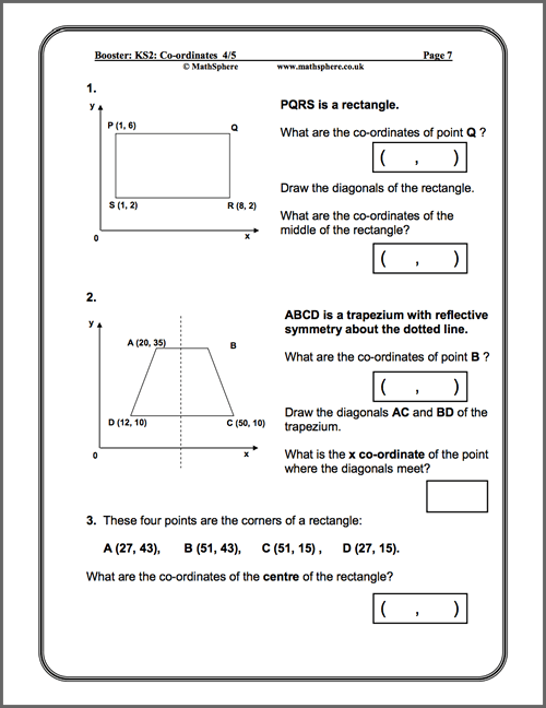 Level 4-5 Co-ordinates Maths Worksheet