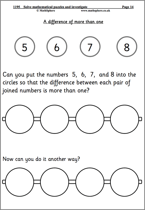 Solve Problems Maths Worksheet