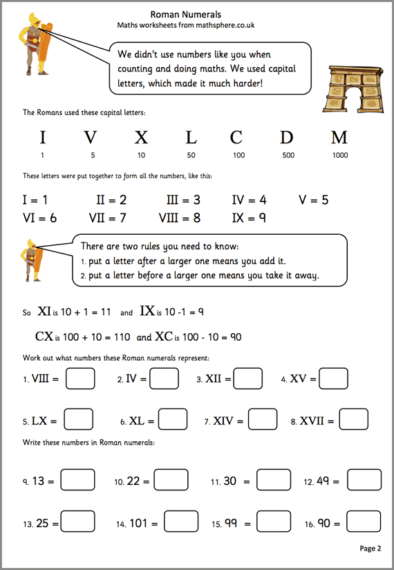 Roman Numerals Maths Worksheet