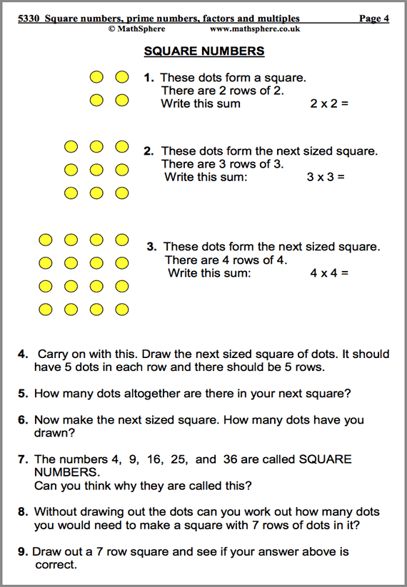 Square, Prime, Factors and Multiples Maths Worksheet